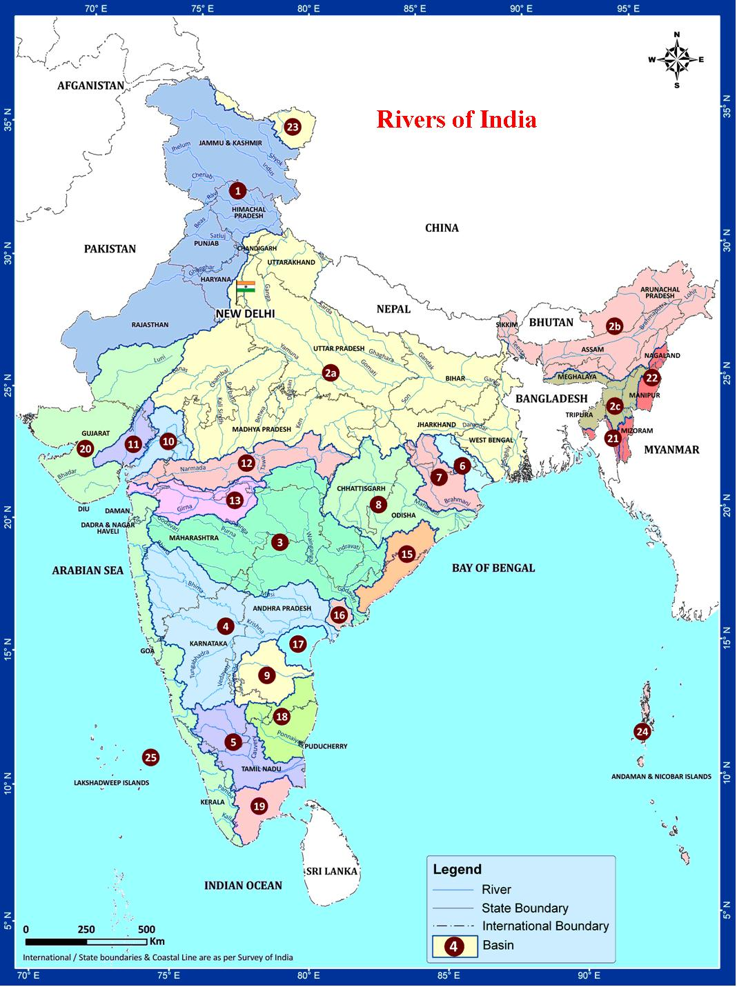 india rivers and lakes map Rivers Of India india rivers and lakes map